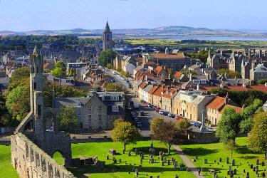 HMS0376027 United Kingdom, Scotland, Fife, St Andrews, The cathedral and city from the top of St Regulus tower