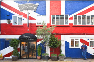 HMS0544798 United Kingdom, London, Notting Hill, Temperley fashion store with Union Jack painted on the front