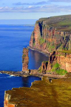 HMS0721375 United Kingdom, Scotland, Orkney Islands, Island of Hoy, the distinctive landmark Old Man of Hoy is a 449 feet (137 m) sea stack (aerial view)