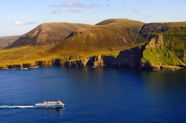 HMS0721376 United Kingdom, Scotland, Orkney Islands, Island of Hoy, the ferry from Stromness in front of Ward Hill is the highest hill in Orkney (aerial view)