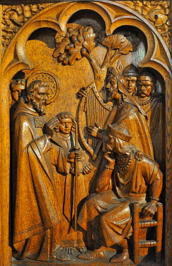 HMS0817465 Ireland, County Kilkenny, Kilkenny, St Canice's Cathedral, Sculpted stall depicting St Canice preaching the gospel to king Colman