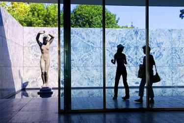 HMS0191154 Spain, Catalonia, Barcelona, Montjuic, Mies Van Der Rohe Pavilion, avinguda Marques de Comillas, bronze statue by George Kolbe