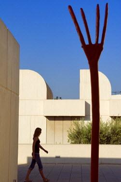 HMS0201244 Spain, Catalonia, Barcelona, Montjuic, Placa de Neptu, the Fundacio Joan Miro by architect Josep Lluis Sert, the terrace and one of Miro 's work
