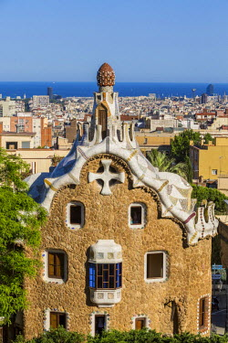 HMS1753595 Spain, Catalonia, Barcelona, Gracia district, Park Guell listed as World Heritage by UNESCO by UNESCO, the architect Antoni Gaudi