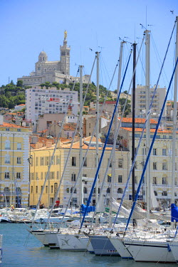 FRA8253AW Harbour at Basilica Notre-Dame of the Garde, Marseille, Provence Alpes Cote d'Azur, Provence, France, Europe