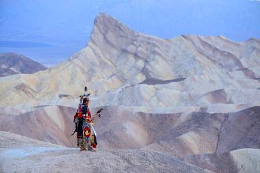 USA9363AW Jim Jellowhawk at Zabriskie Point, Death Valley National Park, California, USA MR