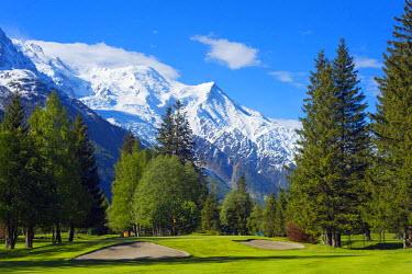 FRA8306 Europe, France, Haute Savoie, Rhone Alps, Chamonix Valley, Chamonix golf club below Mont Blanc mountain range