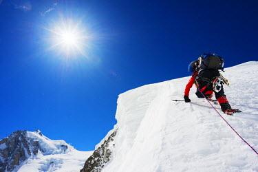 FRA8308 Europe, France, Haute Savoie, Rhone Alps, Chamonix Valley, Gouter north ridge on Mont Blanc (MR)