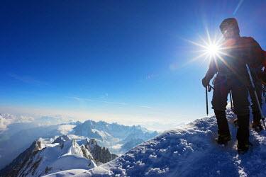 FRA8317 Europe, France, Haute Savoie, Rhone Alps, Chamonix Valley, Mont Blanc 4810m, climbers on Mt Blanc