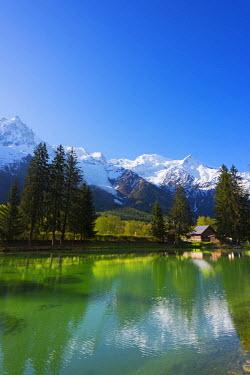 FRA8322 Europe, France, Haute Savoie, Rhone Alps, Chamonix Valley, Mont Blanc 4810m above Lac des Gaillands