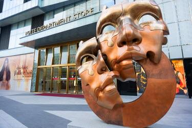 SKO0120 Asia, Republic of Korea, South Korea, Busan, Lotte department store and modern art sculpture