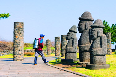 SKO0273 Asia, Republic of Korea, South Korea, Jeju island, Seogwipo city, Dol hareubang (harubang) protection and furtility statue