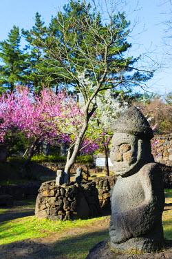 SKO0292 Asia, Republic of Korea, South Korea, Jeju island, Dol hareubang (harubang) protection and fertility statue at Dolhareubang Park