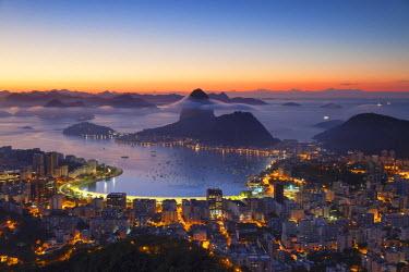 BRA2393AW View of Sugarloaf Mountain and Botafogo Bay at dawn, Rio de Janeiro, Brazil
