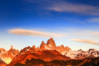 Argentina, Patagonia, El Chalten, Los Glaciares National Park, Cerro Torre and Cerro Fitzroy Peaks at the first light of dawn