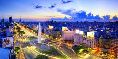 AR01204 Argentina, Buenos Aires, Avenida 9 de Julio and Obelisk