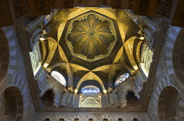 HMS0459452 Spain, Andalusia, Cordoba, historical center listed as World Heritage by UNESCO, Mezquita, the Mosque cathedral, Mirhab and Dome