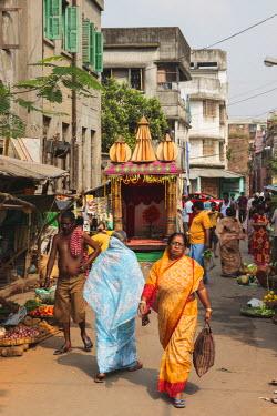 AS10ALA0176 India, East India, West Bengal, Kolkata, Hooghly River, Kumortuli, Market scene