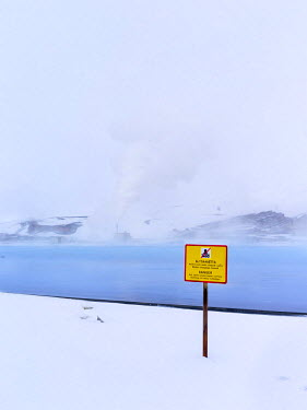 EU14MZW0246 Geothermal power plant near lake Myvatn in the highlands of Iceland during winter and deep snow, Iceland