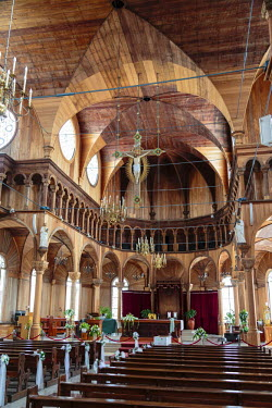 SA18ALA0042 South America, Suriname, Paramaribo. Interior of the Saint Peter and Paul Cathedral.