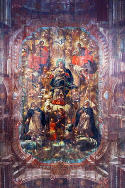 BRA2498AW South America, Brazil, Bahia, Salvador, historical centre, Pelourinho, ceiling painting of Our Lady and the saints in the Portuguese baroque interior of the Church of Nossa Senhora do Rosario dos Pret...