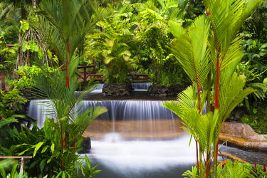 CR32985AW Costa Rica, Alajuela, La Fortuna. Hot Springs at The Tabacon Grand Spa Thermal Resort.