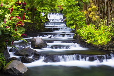 CR32989AW Costa Rica, Alajuela, La Fortuna. The Ladder of Relaxation at The Tabacon Grand Spa Thermal Resort.