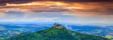 DE05219 Hohenzollern Castle & surrounding countryside at sunset, Swabia, Baden Wuerttemberg, Germany
