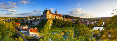 DE05241 Elevated view towards Sigmaringen Castle illuminated at sunset, Swabia, Baden Wurttemberg, Germany, Europe