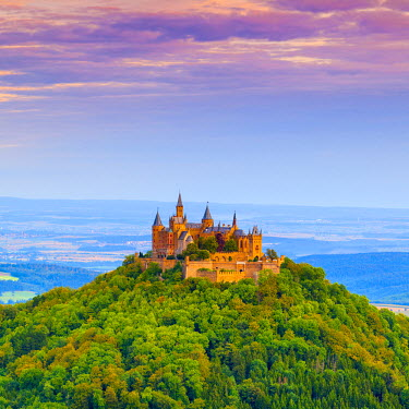 DE05244 Hohenzollern Castle & surrounding countryside at sunrise, Swabia, Baden Wuerttemberg, Germany