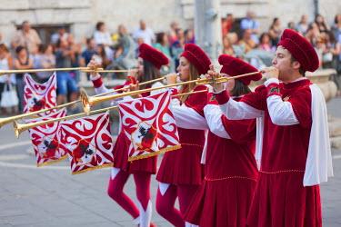 ITA3271AW Procession of medieval festival of La Quintana, Ascoli Piceno, Le Marche, Italy