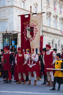 ITA3275AW Procession of medieval festival of La Quintana, Ascoli Piceno, Le Marche, Italy