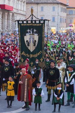 ITA3277AW Procession of medieval festival of La Quintana, Ascoli Piceno, Le Marche, Italy