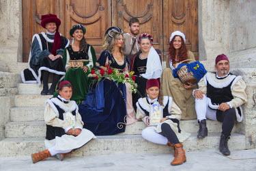ITA3289AW People in medieval festival of La Quintana, Ascoli Piceno, Le Marche, Italy