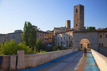 ITA3305AW Porta Solesta and Roman bridge, Ascoli Piceno, Le Marche, Italy