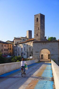 ITA3306AW Porta Solesta and Roman bridge, Ascoli Piceno, Le Marche, Italy