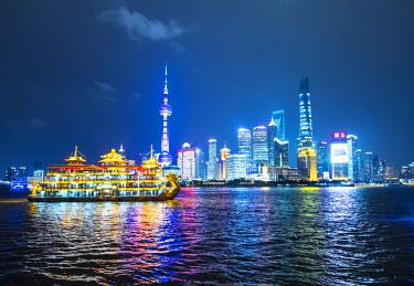 CN03335 Pudong skyline across the Huangpu river, Shanghai, China