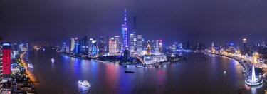 CN03385 Pudong skyline across the Huangpu river, Shanghai, China