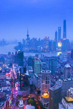 CN03432 Pudong skyline and East Nanjing Road, Shanghai, China