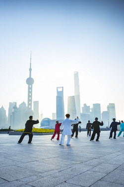 CN03510 Tai Chi on The Bund (with Pudong skyline behind), Shanghai, China
