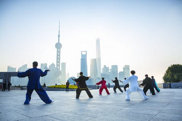 CN03511 Tai Chi on The Bund (with Pudong skyline behind), Shanghai, China