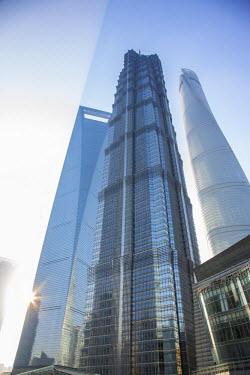 CN03513 Jin Mao Tower, Shanghai Tower and Shanghai World Finance Center, Lujiazui, Pudong, Shanghai, China