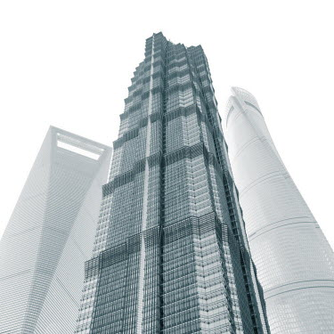 CN03515 Jin Mao Tower, Shanghai Tower and Shanghai World Finance Center, Lujiazui, Pudong, Shanghai, China