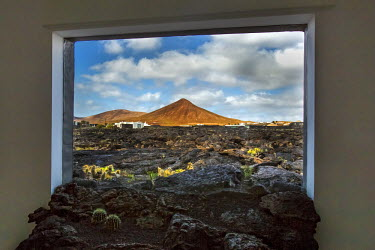 SPA6156AW View out of a window, Fundacion Cesar Manrique, Tahiche, Lanzarote, Canary Islands, Spain