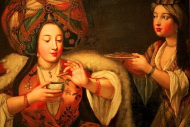 HMS0179102 Turkey, Istanbul, Beyoglu District, Pera Museum, 18th century painting by an unknown painter, Enjoying Coffee