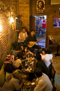 HMS0531137 Turkey, Istanbul, Beyoglu, Taksim District, Munzur, bar with local musik near Istiklal Caddesi Street