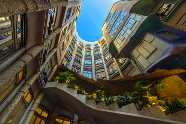 SPA6271AW Main courtyard of Casa Mila or La Pedrera, Barcelona, Catalonia, Spain