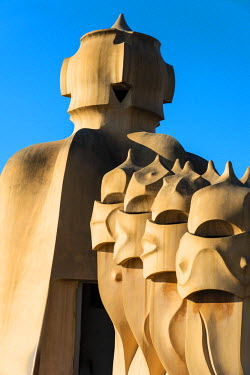 SPA6274AW Ventilation towers on the rooftop of Casa Mila or La Pedrera, Barcelona, Catalonia, Spain