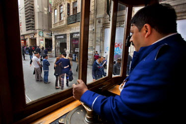HMS1932649 Turkey, Istanbul, Beyoglu, Taksim District, tram on Istiklal Caddesi Street