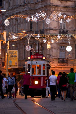 HMS1932752 Turkey, Istanbul, Beyoglu, Taksim District, Istiklal Caddesi Street, old tram